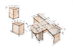 самомоднейшее свободной руки чертежа конструкции нутряное Стоковое фото RF