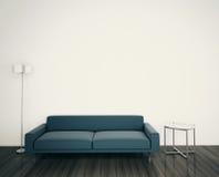 Самомоднейшие кресло и светильник в комнате иллюстрация штока