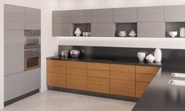 Самомоднейший интерьер кухни. иллюстрация штока