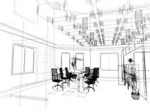 самомоднейший эскиз офиса стоковые изображения