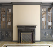 Самомоднейший living-room с камином. Стоковое Изображение RF