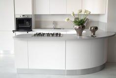 Самомоднейшая белая кухня с открытой печью Стоковое Изображение RF