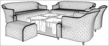 Самомоднейший вектор 09 мебели живущей комнаты Стоковые Изображения RF