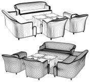Самомоднейший вектор 11 мебели живущей комнаты Стоковое Изображение