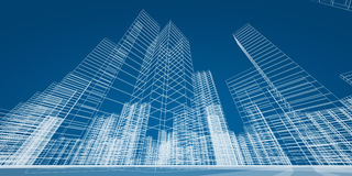 Самомоднейшая принципиальная схема небоскребов Стоковое Изображение RF