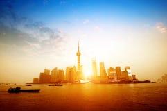 Ландшафт восхода солнца Китая Шанхая стоковые изображения rf