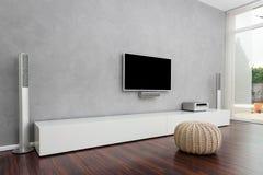 Самомоднейшая живущая комната с TV Стоковые Изображения