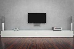 Самомоднейшая живущая комната с TV стоковые фотографии rf