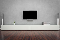 Самомоднейшая живущая комната с TV Стоковая Фотография