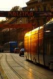 Трам в улице Ilica управляя в заход солнца стоковое изображение
