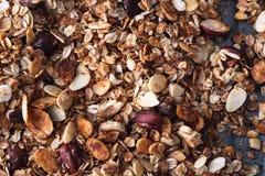 Самонаведите сделанная клейковина свободный Granola с фундуками, овсами, миндалиной Стоковые Фото
