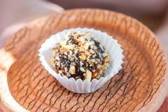 Самонаведите сделанная конфета с грецким орехом и дата на плите глины bronw Стоковое Изображение RF
