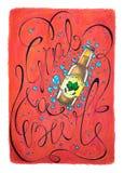 Самосхват ` Oktoberfest иллюстрация оформления ` пива нарисованная рукой Красный плакат с пивом и литерностью бесплатная иллюстрация