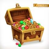 Самоцветы сундука с сокровищами и золотые монетки зацепляет икону бесплатная иллюстрация
