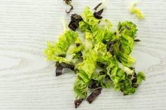 Самоцвет свежего сырцового зеленого салата красный маленький на серой древесине Стоковые Фотографии RF