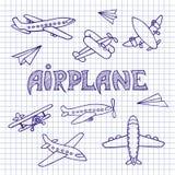 Самолеты на листе тетради Стоковая Фотография