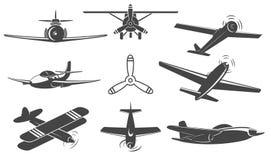 Самолеты установленные в вектор иллюстрация вектора