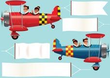 Самолет-бипланы и знамена Стоковые Изображения RF