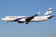 Самолет Боинга 737-800 авиакомпаний ЭЛЬ-АЛЬ Израиля Стоковые Изображения