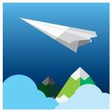 Самолет бумаги перемещения вектора готовый для приключения Стоковые Фото