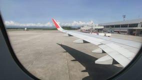 Самолет воздуха окна Viwe воздушных судн Parked на Hat Yai Internationa Стоковые Фото