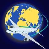 самолет вокруг глобуса летания Стоковые Фото