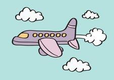 Самолет в иллюстрации вектора шаржа неба иллюстрация вектора