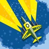 Самолет в ночном небе Стоковое Изображение RF