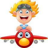 Самолет летания мальчика шаржа бесплатная иллюстрация