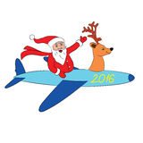 Самолет летания Санта Клауса иллюстрация вектора