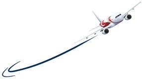 Самолет летая вверх на белую предпосылку иллюстрация штока