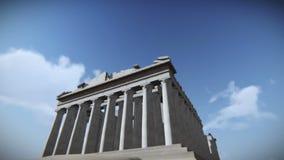 Самолет летая над Парфеноном в акрополе, видео Греции бесплатная иллюстрация