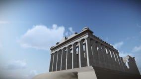 Самолет летая над Парфеноном в акрополе, отснятом видеоматериале Греции иллюстрация вектора