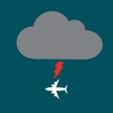 Самолет облака и болта иллюстрация вектора