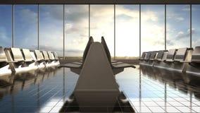 Самолет прибытия в зале полета ждать daytime Moving камера иллюстрация штока
