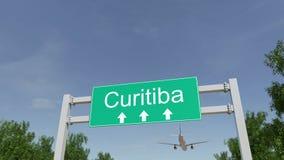 Самолет приезжая к авиапорту Curitiba Путешествовать к переводу 3D Бразилии схематическому Стоковое фото RF