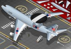 Самолет радиолокатора приземленный в вид сзади Стоковые Изображения RF