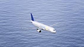 Самолет Сингапоре Аирлинес летая над морем Схематический зажим передовицы 4K видеоматериал