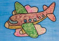 Самолет среди облаков - славный чертеж Стоковое Изображение RF