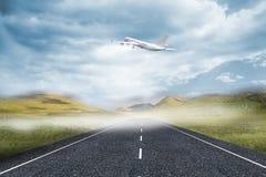 самолет 3D принимая над улицей иллюстрация штока