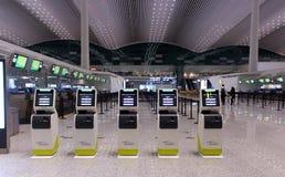 Само- киоски регистрации в аэропорте стоковое фото