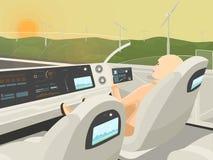 Само-управлять электрическим автомобилем идет с ослабляя пассажиром Стоковое фото RF
