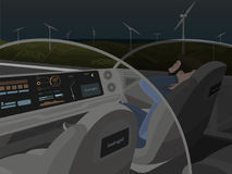 Само-управлять электрическим автомобилем идет с спать пассажиром Стоковая Фотография