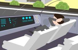 Само-управляющ, электрический автомобиль Внутренний взгляд Стоковая Фотография