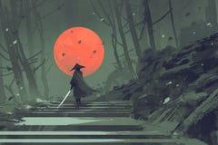 Самураи стоя на лестнице в лесе ночи с красной луной на предпосылке иллюстрация вектора