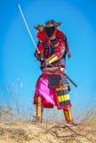 Самураи с шпагой на песке Стоковые Фотографии RF