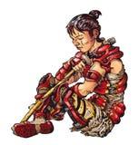 Самураи с шпагой Иллюстрация штока
