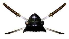 Самураи Katana и шлем Стоковые Фото