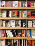 Самые последние известные романы для продажи в книжном магазине библиотеки стоковые изображения rf