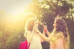 Самые лучшие подруги играя с леденцами на палочке Заход солнца Стоковая Фотография